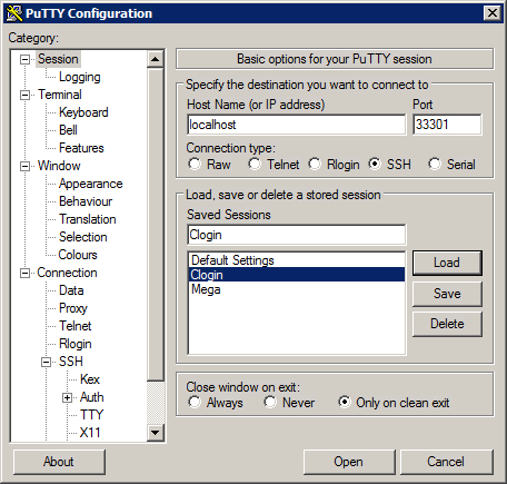 HPC/Network Access/PuTTY Configuration/Accessing Carbon